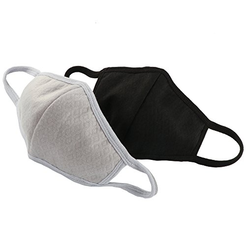 Fani 2 Packs Adult Face Masks Activated Carbon Cotton Anti-Dust Warm Fashion Mouth Face Masks for Women and men (Black and Gray)