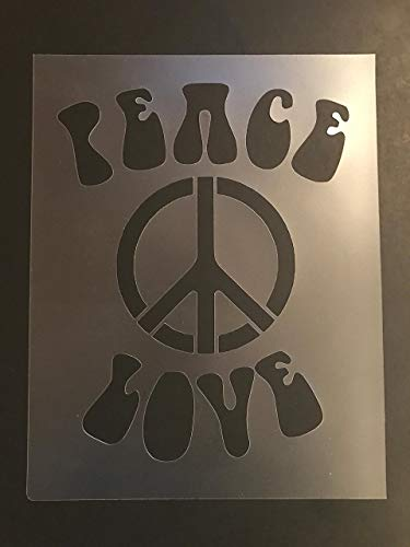 Peace sign Stencil #1 Reusable 10 mil Thick 8in x 10.5in sheet