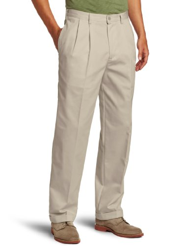 IZOD Men's American Chino Pleated Pant, Khaki, 40W x 32L