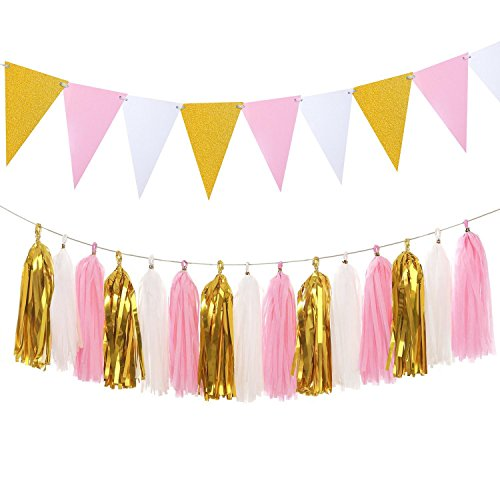 Vintage Paper Pennant Banner Triangle Flags Bunting 8.5 Feet and Tissue Paper Tassels Garland 15 pcs for Birthday Party, Bridal Shower Wall Decoration, Glitter Gold+Pink+White