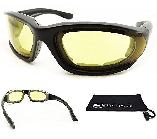Photochromic Motorcycle Sunglasses Foam Padded for Women with Safety Polycarbonate Transitional Lenses. Free Microfiber Cleaning Case. - Motorcycle Sunglasses Photochromic