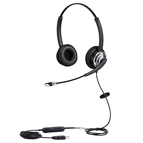 USB Telephone Headset with Microphone Computer PC Headset Dual Ear for Skype Chat, Online Learing, Conference Calls, Voice Chat, Softphones Call, Gaming etc