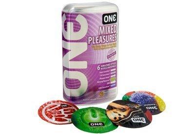 ONE Mixed Pleasures Premium Lubricated Assorted Sensatex Latex Condoms (6 Styles), 12-count Tin