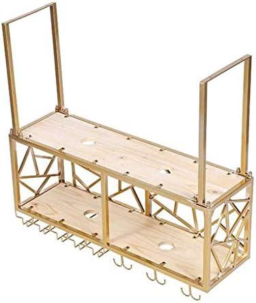 ワインラックワインボトルホルダー天井取り付け吊り下げメタルゴールドフレームデザインヴィンテージスタイルライト付き(サイズ:100cm)
