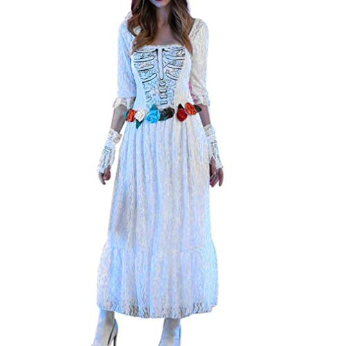 Women Halloween Costume Cosplay Party Adult Lace Scary Zombie Ghost Bride -