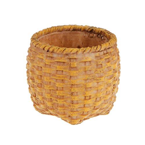 MagiDeal Rustic Basket Bamboo Succulent Plant Herb Bonsai Flower Bed Pot Box Case Garden Planter