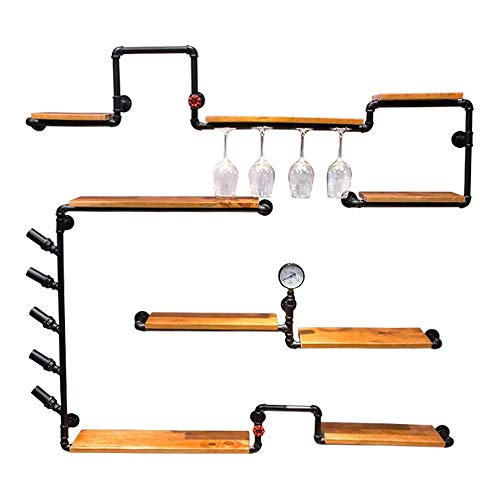 (QYJ-jiazi Wall Decoration Wall Hanging Wine Cabinet Wooden Wine Bottle and Glasses Frame, Retro Iron Water Pipe Design Household Goods (67