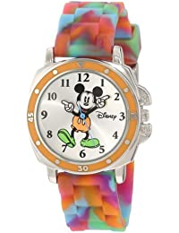 Kids' MK1191 Mickey Mouse Silver-Tone Watch with Tie-Dye Rubber Strap