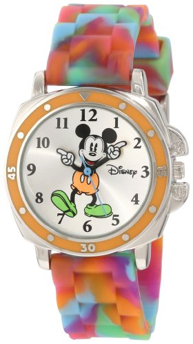 Disney Kids' MK1191  Mickey Mouse Silver-Tone Watch with Tie-Dye Rubber Strap