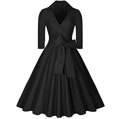 Vestido Vintage de Mujer Retro 1950s Manga 3/4 Elegant Coctel Vestido de Noche Negro