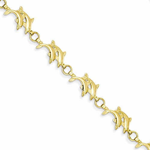 14k-Yellow-Gold-8in-Solid-Polished-Open-Back-Double-Dolphins-Bracelet