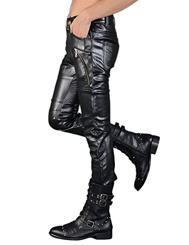 Idopy Men`s Rock Punk Hip Hop Faux Leather Motocycle Pants (30W x 40L, 149# Black) by Idopy (Image #5)