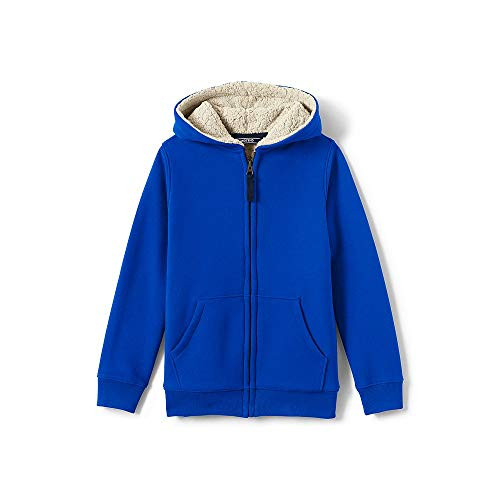 Lands' End Boys Sherpa Lined Hoodie, M, Vibrant (Lands End Kids Sweater)