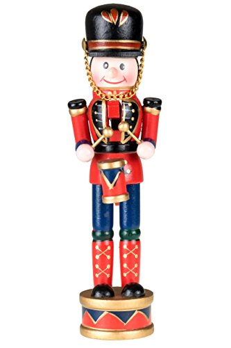 "Clever Creations Drummer Nutcracker | Traditional Christmas Decor | Red, Black, Blue Drumming Uniform | Perfect for Any Collection | 7"" Tall Nutcracker Perfect for Shelves and Tables 
