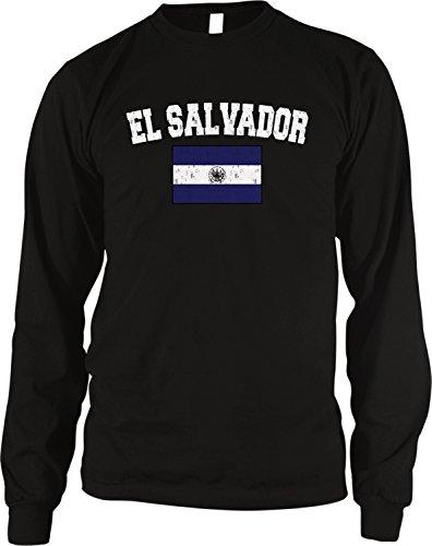 Flag of El Salvador Men's Long Sleeve Thermal Shirt, Amdesco, Black Medium