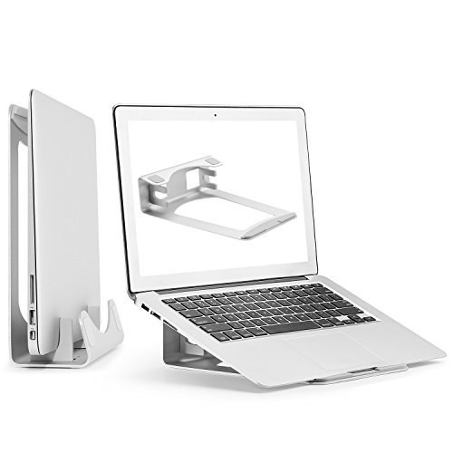 Price comparison product image Aluminum Laptop Stand, 2 in 1 Vertical Laptop Holder for MacBook Pro/Air, Space Saver for Apple Notebooks by HUANUO