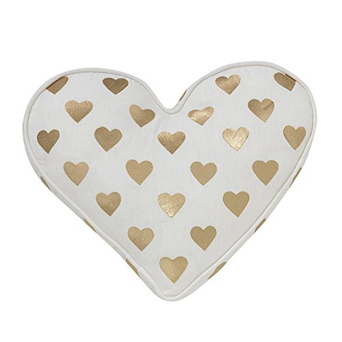 Lambs & Ivy Baby Love White/Gold Heart Decorative Pillow - Great Welcome Home Gift for Mommy and Baby