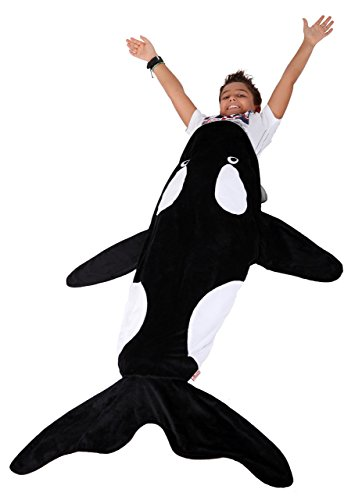 Lovely Pumpkins Whale Polar Fleece Blanket, Orca Toddler Blanket,Kids Sleep Bag: Ultra-soft Pocket Style Keeps Kids Warm. Size 3-8 years (Blanket Up Light)