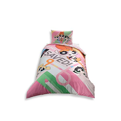 Original Licensed Power Puff Girls Single/Twin Size 3 Pcs Bedding Set 100 % Cotton Duvet/Quilt Cover Set with Duvet Cover  Fitted Sheet and Pillow Case