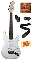 Squier by Fender Mini Strat Electric Guitar Bundle with Tuner, Strap, Picks, Austin Bazaar Instructional DVD, and Polishing Cloth - Arctic White