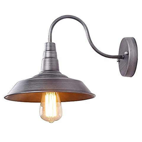 Anmytek Iron Color Wall Light Fixture, Industrial Retro Rustic Loft Antique Wall Lamp Edison Vintage Pipe Wall Sconce Decorative Fixtures Lighting Luminaire (Bulbs not included) (Iron)