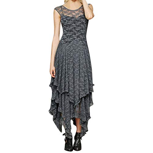 (Women's Boho Irregular Lace Sexy Double Layered Ruffled Trimming Long Dress by Teresamoon Gray)