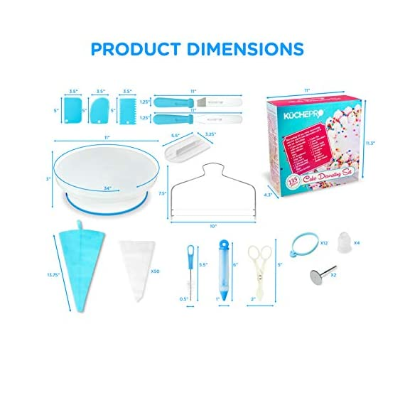 135-Piece Premium Cake Decorating Supplies Kit - Includes Cake Turntable Stand, 55 Numbered Icing Tips, 4 Piping Couplers, 1 Silicone Pastry Bag, 50 Disposable Pastry Bags & Many More Decorating Tools 9 ✔ LARGE ULTIMATE CAKE DECORATING KIT: KuchePro offers the largest cake decorating supplies set you can buy with a whopping 135 pieces. Whether you a casual weekend cake baker or a professional with your own TV show, our set has everything you will need. We want to provide you with all the essential top-quality cake decorating tools at a great value. ✔ OUR CAKE DECORATING SUPPLIES SET HAS IT ALL: Here's what you will get in our premium cake decorating kit- 1 Cake Turntable with Non-Slip Silicone Base, 55 Numbered Icing Tips, 4 Icing Bag Couplers, 1 Reusable Silicone Pastry Bag, 50 Disposable Pastry Bags, 1 Cake Leveler with Two Strings, 1 Cake Writing Pen, 1 Cake Smoother, 1 Icing Tip Cleaning Brush, 2 Cake Flower Nails, 1 Cake Flower Lifter, 3 Frosting Scrapers, 2 Cake Decorating Spatulas, 12 Silicone Pastry Bag Ties. ✔ SAFE, HIGH-QUALITY MATERIALS: The KuchePro 135-Piece Cake Decorating Supplies Kit are made from 100% food grade quality materials that are built to last so you can create beautiful looking cakes for years and years. BPA free silicone tools, non-toxic plastics, and all cake decorating tools and accessories are dishwasher safe.
