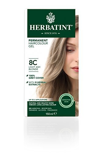 Herbatint 8C Light Ash Blonde Permanent Haircolor (Pack of 2) Alcohol and Ammonia Free, 4.56fl oz Each