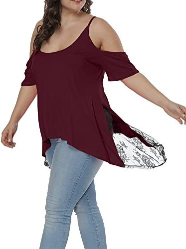Allegrace Women Plus Size Scoop Collar Asymmetric Hem