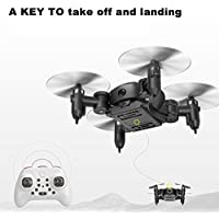 Xisheep 2.4G WIFI Control 0.3MP Camera FPV RC UFO Drone Quadcopter, MINI Pocket Foldable Drone, 6-Axis Nano Quadcopter for Kids LED RC Drone (Black)