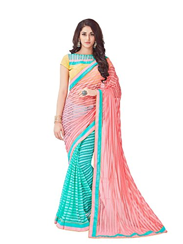 Viva-N-Diva-Peach-And-Rama-Net-Saree-With-Unstitched-Blouse-Piece