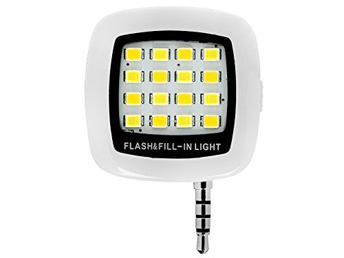 Portable Mini 16 Leds LED Flash Fill Light Rechargeable for Smartphone iphone Samsung HTC and Camera Video Light (White)