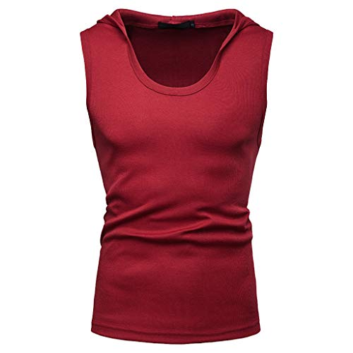 - iHPH7 Vest Tops Men Pack of Fine Ribbed Sleeveless Tanks Casual Loose Thread Hooded Sleeveless Hip Hop Vest Tops XXL Red