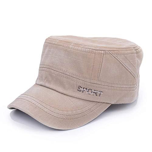 King Star Men Cotton Army Cap Cadet Hat Military Flat Top Adjustable Caps  Light Coffee 08ac7c8154da