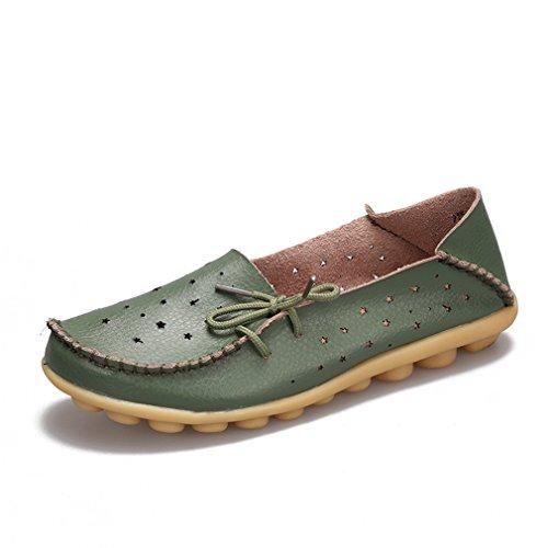 mujer cuero Mocasines Zapatos genuino de de Slip Mocasines planos mujer Army de de Mujer ballet Green Zapatos Zapato On Zapatos Bridfa Zapatos Eq0zF