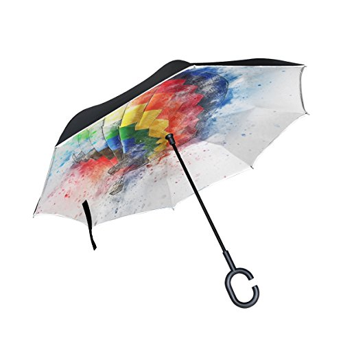 Double Layer Inverted Balloon Aircraft Art Abstract Watercolor Vintage Umbrellas Reverse Folding Umbrella Windproof Uv Protection Big Straight Umbrella For Car Rain Outdoor With C Shaped Handle