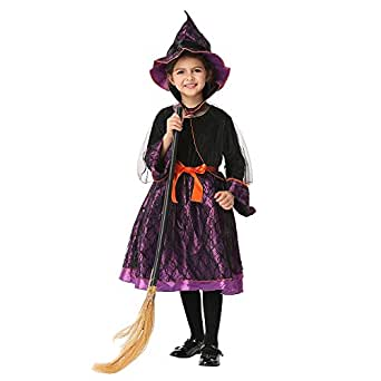 Witch Kids Fancy Dress Up Clothes Costume Cosplay Halloween Party ( Color : Purple , Size : S(95-105cm) )