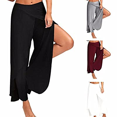 COLO Women's Pants Cropped Palazzo Wide Leg High Split Layered Solid Flowy Casual Lounge Trousers