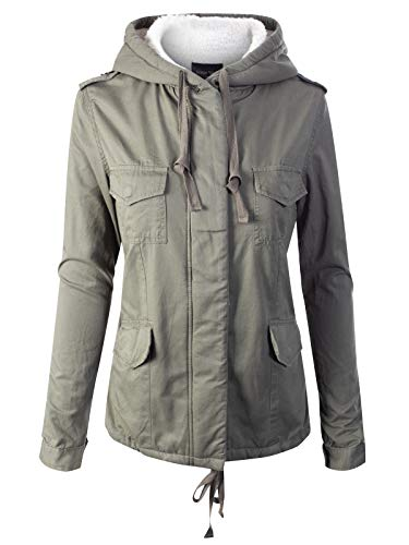 Instar Mode Women's Fleece Lined Hidden Zipper Front Closure Utility Jacket Olive ()