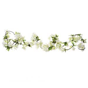 UUPP 2Pcs 7.2FT Artificial Cherry Blossom Flower Garland Silk Fake Flower Hanging Vine for Home Hotel Office Garden Wedding Party Outside Decoration, White 5