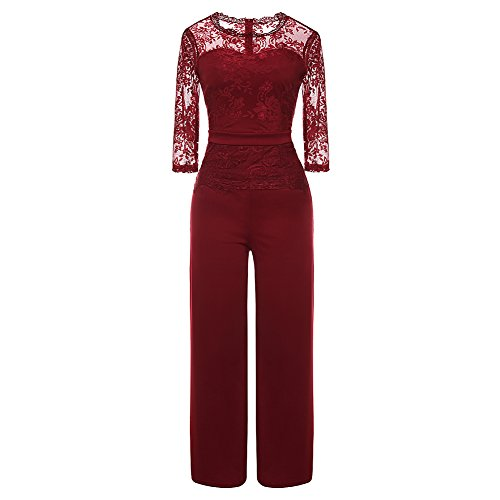Women's Sexy Lace Patchwork Jumpsuit 3/4 Sleeve Peplum High Waist Long Wide Leg One Piece Rompers Outfit Party Clubwear Wine Red XL