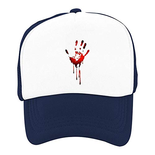 Tnilsk Kids Halloween Scary Bleeding Handprint Mesh Cap Quick Drying Trucker Cap]()