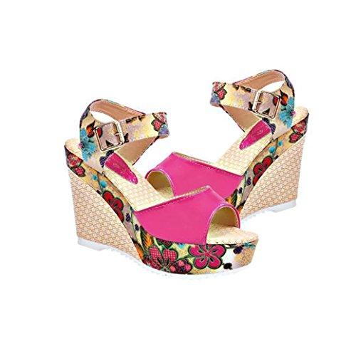 Transer® Ladies High Platforms Wedge Heel Sandals- Women Comfy Wedges Shoes Casual Sandals Slippers Red WqadG0S4jG