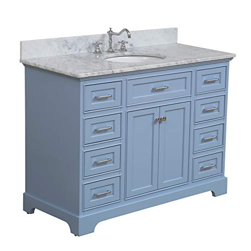 (Aria 48-inch Bathroom Vanity (Carrara/Powder Blue): Includes a Powder Blue Cabinet with Soft Close Drawers, Authentic Italian Carrara Marble Countertop, and White Ceramic Sink)