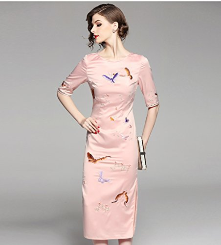 Sleeve Slim Half Long Dresses Embroidery Women`s Scoop Neck cotyledon Sexy wqO6zpcI