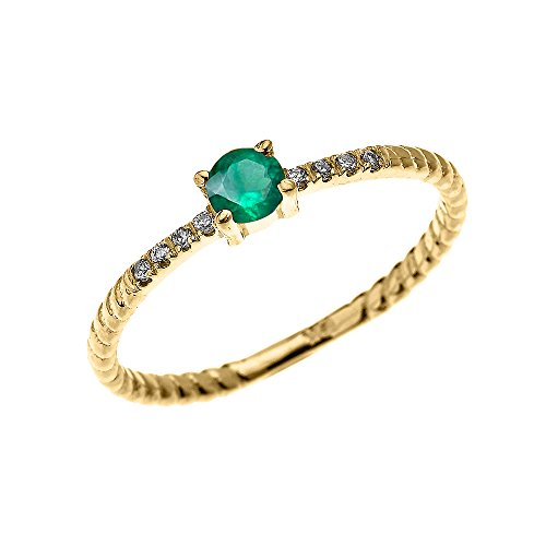 10k Yellow Gold Dainty Diamond and Solitaire Emerald Rope Design Stackable/Proposal Ring(Size 7.5)