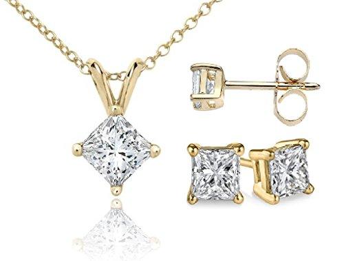 Diamond Princess Cut Pendant - PARIKHS Princess cut Diamond Pendant & Stud Set Popular Quality-Yellow Gold (0.15 ctw, I2 clarity)
