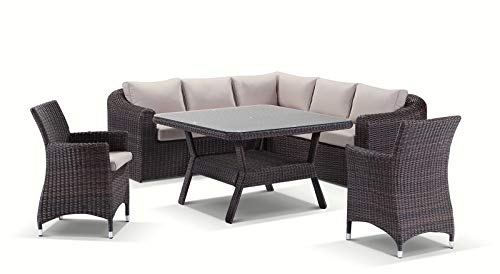 Subiaco 6 Piece Modular Lounge and Dining Table and Chairs Setting, Chestnut Brown/Latte Cushion – Outdoor Wicker…