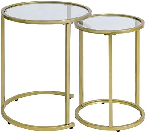 Glass Nesting Side Tables, Coffe Table Stacking end Table Set of 2 Gold