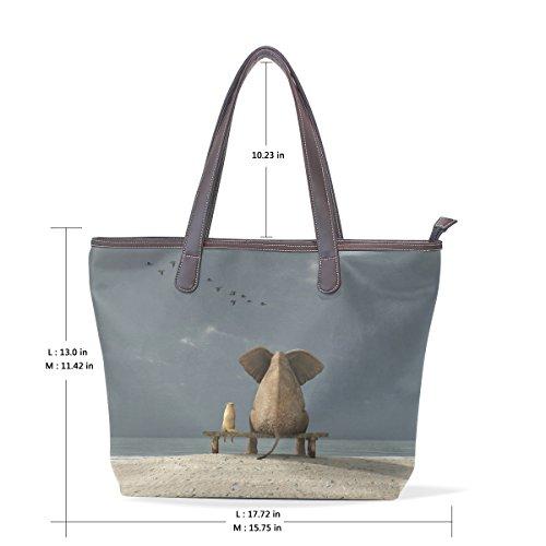 Multicolor Del E 40x29x9 Big Maniglia Bag Pelle Tracolla 001 Pu Elefante M Coosun Cm In Cane Sacchetto Della Triste OxTnpq